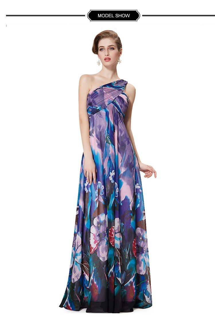 Evening 2016 Dress Pretty Beautiful Sexy One Shoulder Long Print Party Gown ITC367