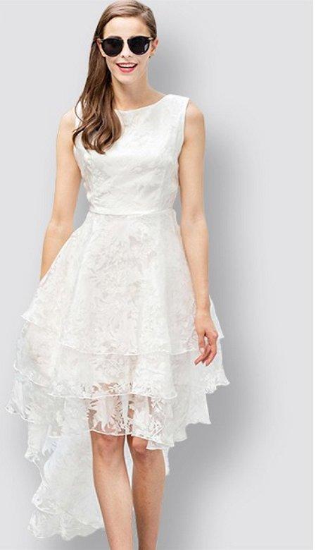 2016 New Fashion All White Party Summer Dress Cascading Ruffles Long Sleeveless Elegant ITC373
