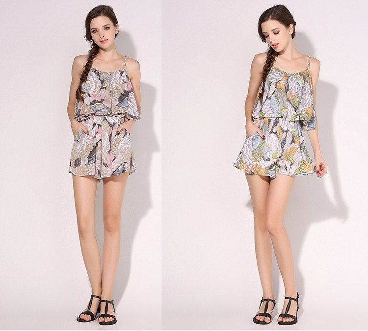 Women Boho Style Rompers 2016 Jumpsuit Summer Off Shoulder Floral Pink Yellow Chiffon Short ITC374