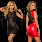 Women Sexy PU Leather Mini Dress Lace Decoration Tight Slim Baby Doll ITC861.
