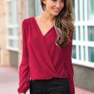 New Sexy Women Fashion V-Neck Tops Tee Long Sleeve Shirt Casual Blouse Loose Shirt ITC892