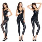 ITCQUALITY SEXY LINGERIE OPEN BRA LATEX CATSUIT CROTCH LESS  EROTIC FAUX LEATHER COSTUME ITC1075.