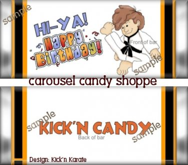 Kickin Karate Boy Birthday Candy Wrappers Printable DIY