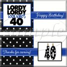 Lordy Lordy Look Who's 40 Milestone Birthday Candy Wrappers Printable DIY