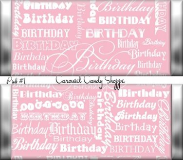 Bubblegum Pink Word Art Happy Birthday Candy Wrappers Printable DIY