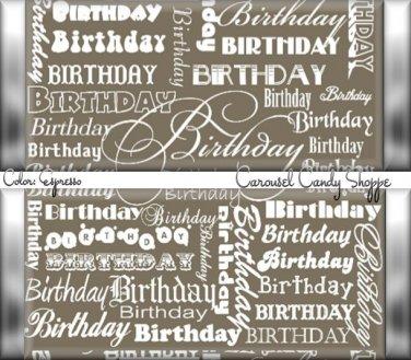 Espresso Brown Word Art Happy Birthday Candy Wrappers Printable DIY