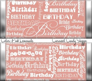 Lemonade Pink Word Art Happy Birthday Candy Wrappers Printable DIY