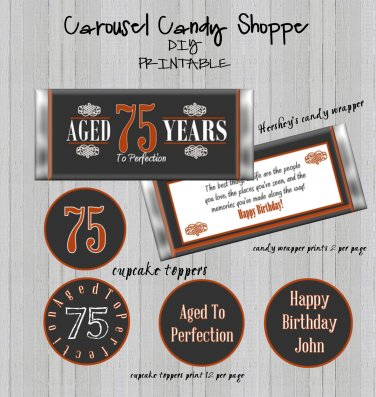Aged To Perfection Birthday Candy Wrappers Cupcake Toppers Printable DIY
