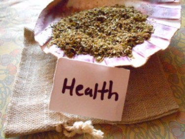 Health spell pillow health pouch with herbs and turquoise , witchcraft supplies