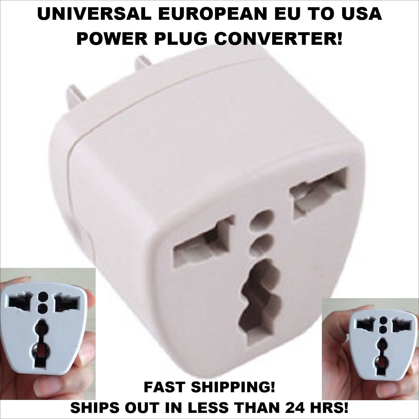 Universal European EU to US USA Travel Power Plug Adapter Converter