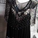 Crochet  Beaded Poncho With Silver beads for casual  or more formal  wear .