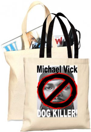 NO Michael Vick DOG KILLER Natural Cotton Shopping Tote