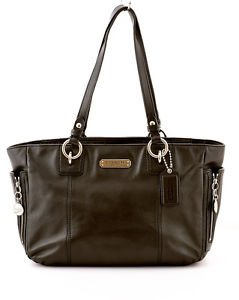 COACH F19252 Gallery Black Leather Zipper Tote shoulder bag Handbag