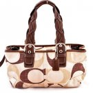 Coach F12195 Tonal Chocolate Signature Zip Satchel shoulder bag