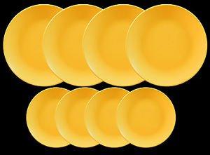 DINNERWARE 4 ceramic Dinner plates Sunflower Yellow matte with side plates.