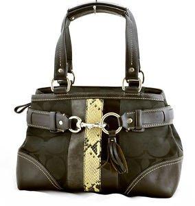 Coach 10262 Python striped satchel shoulder bag