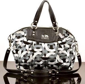 COACH 14321 MADISON CHAINLINK LARGE CLAIRE SATEEN SHOULDER BAG  PURSE