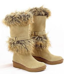 B MAKOWSKY BOOTS SUEDE AND FAUX FUR BEIGE 7M