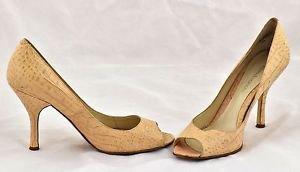 Enzo Angiolini beige open toe croc leather heels shoes pumps size 9M