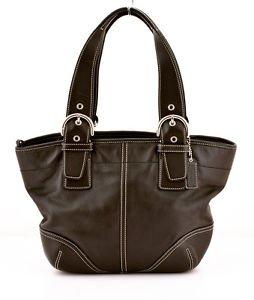 COACH 9544 Black Leather Zip Shoulder bag tote