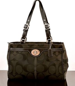 Coach F14415 Hampton Signature canvas shoulder bag purse