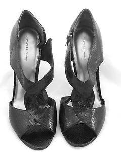 PAPELL STUDIO Shoes Classic Black reptile pumps shoes open toe heels 8.5M