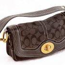 Coach Legacy Jacquard Signature Black Flap Handbag purse 10335