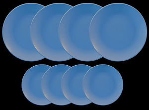 DINNERWARE 4 ceramic Dinner plates and 4 side plates Blue matte. Kitchen plates