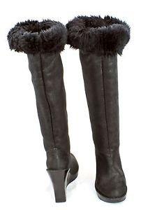 Michael Kors CALISTA Black Glitter fabric Knee-High Platform Wedge Boots SZ 7.5M