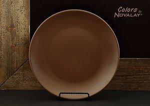 DINNERWARE 4 Dinner plates MATTE chocolate brown ceramic, kitchen plates