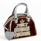 JUICY COUTURE BROWN VELOUR BLUE DOMED SATCHEL PURSE HANDBAG