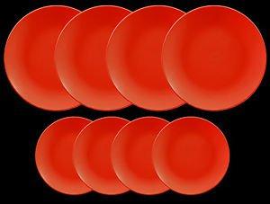 DINNERWARE 4 Dinner plates red matte ceramic with 4 ceramic side plates
