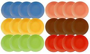 DINNERWARE 24 Ceramic Dinner plates, solid color, CERAMIC, 6 colors