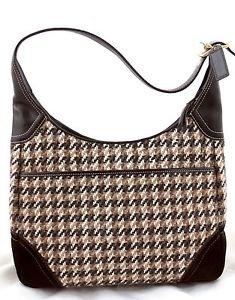 COACH F10279 Hobo Houndstooth tricot suede shoulder bag