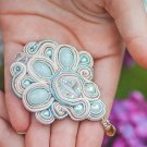 Soutache brooch, Blue and gold brooch, Embroidered brooch, Crystal brooch, Soutache jewelry