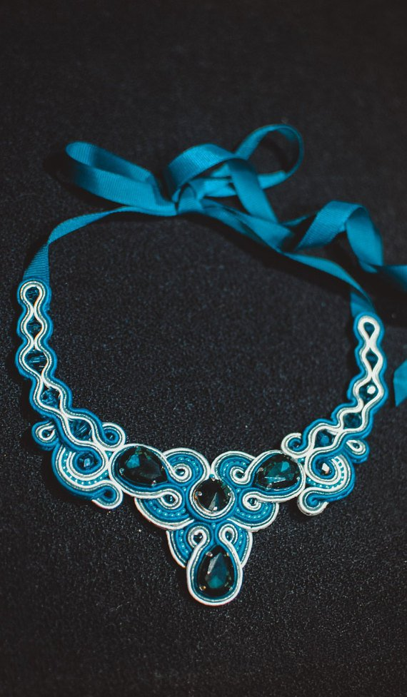 Soutache necklace, Celadon and white necklace, Crystal necklace, Embroidered necklace