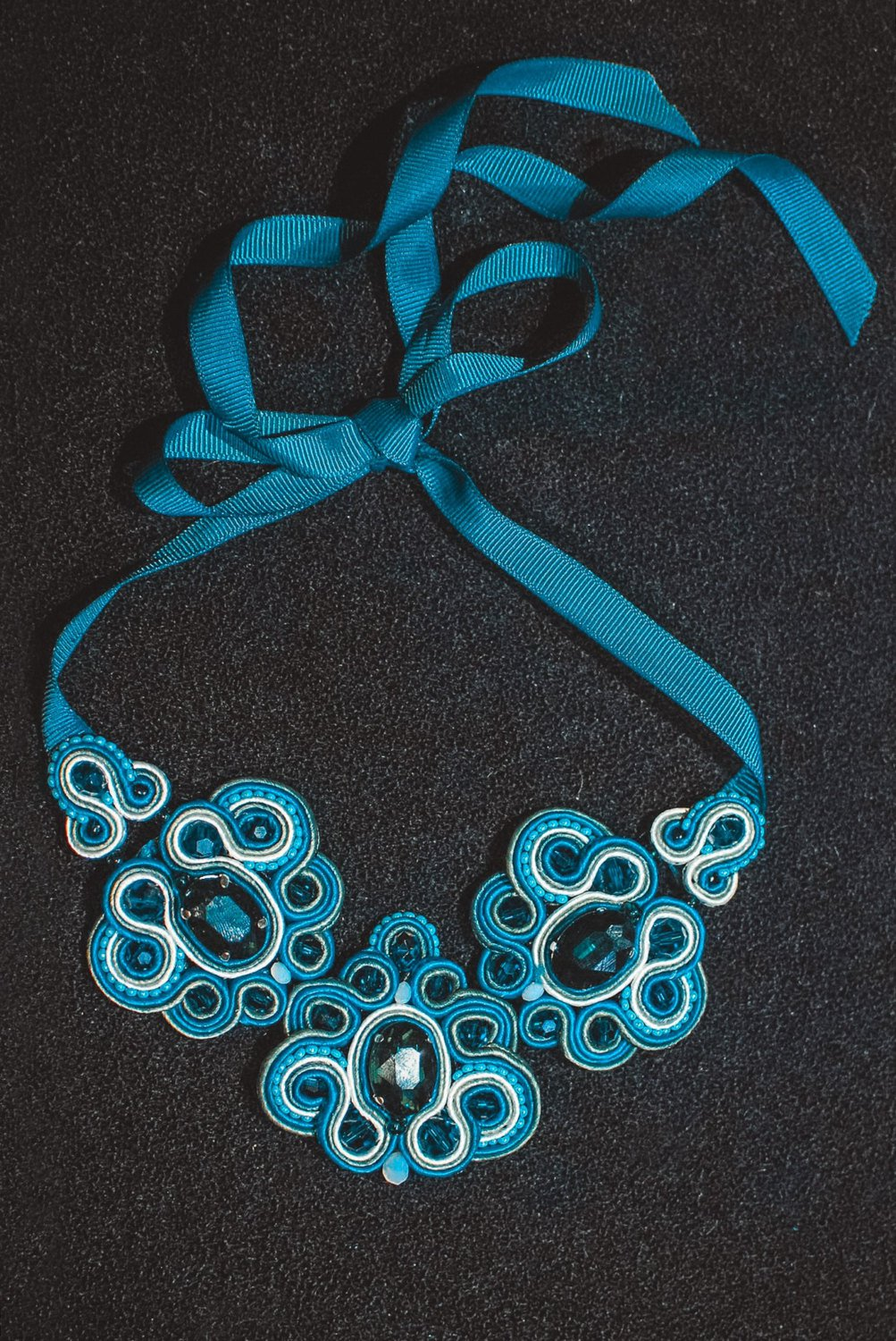 Soutache necklace, Celadon and white necklace with crystals, Embroidered necklace, Crystal necklace