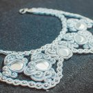 Soutache necklace, Grey necklace, Embroidered necklace, Beaded necklace, Silver necklace