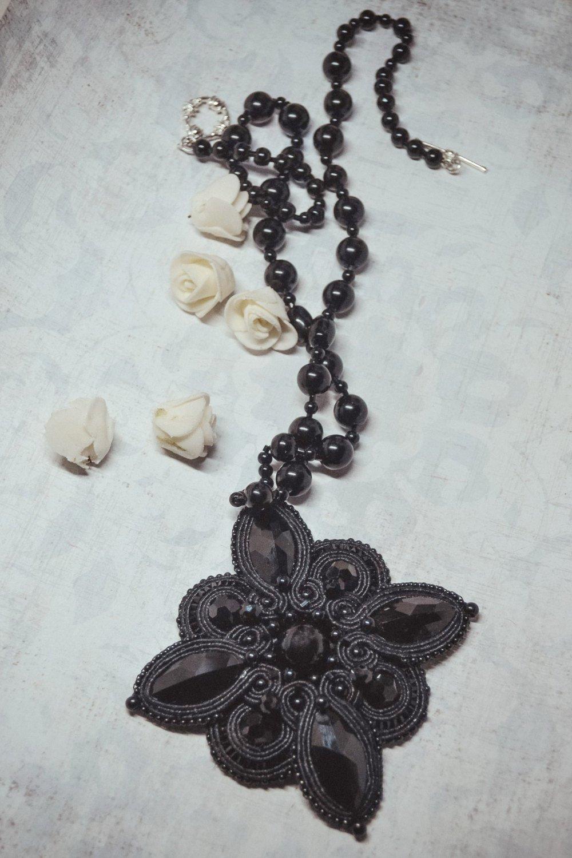 Soutache pendant, Black pendant with crystal, Embroidered pendant, Crystal pendant, Beaded pendant