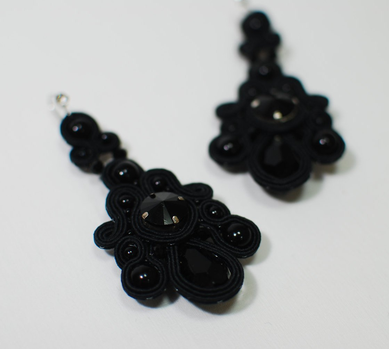 Soutache long earrings, Dangle earrings, Black earrings, Evening earrings, Embroidered earrings