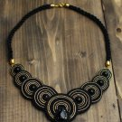 Soutache necklace, Black and gold necklace with agate, Embroidered necklace, Beaded necklace