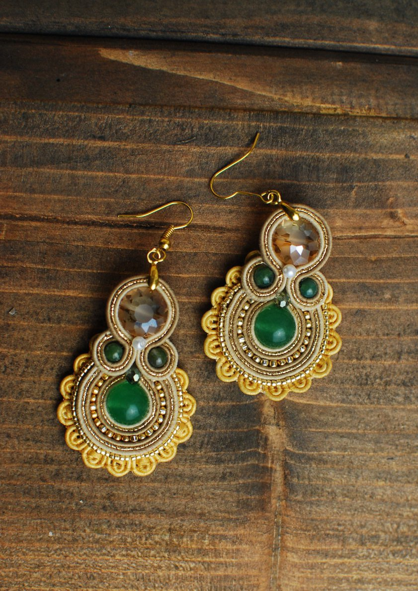 Soutache dangle earrings, Gold and green earrings with jade, Embroidered earrings, Beaded earrings