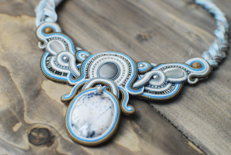 Soutache necklace, Grey, blue, white necklace, Boho necklace, Beaded necklace, Embroidered necklace