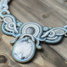Soutache necklace, Grey, blue, white necklace, Boho necklace, Beaded necklace, Embroidered necklace