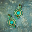Soutache dangle earrings, Gold and turquoise earrings, Boho earrings, Embroidery earrings