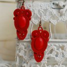 Soutache dangle earrings, Red earrings with coral, Embroidered earrings, Beaded earrings