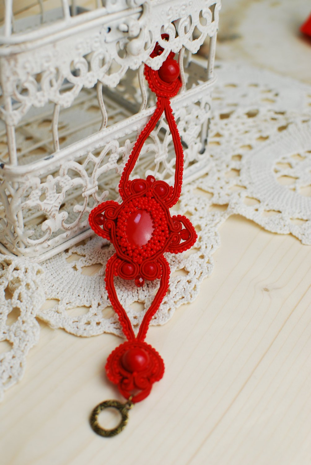 Soutache bracelet, Red blacelet with coral beads, Embroidered bracelet, Beaded bracelet