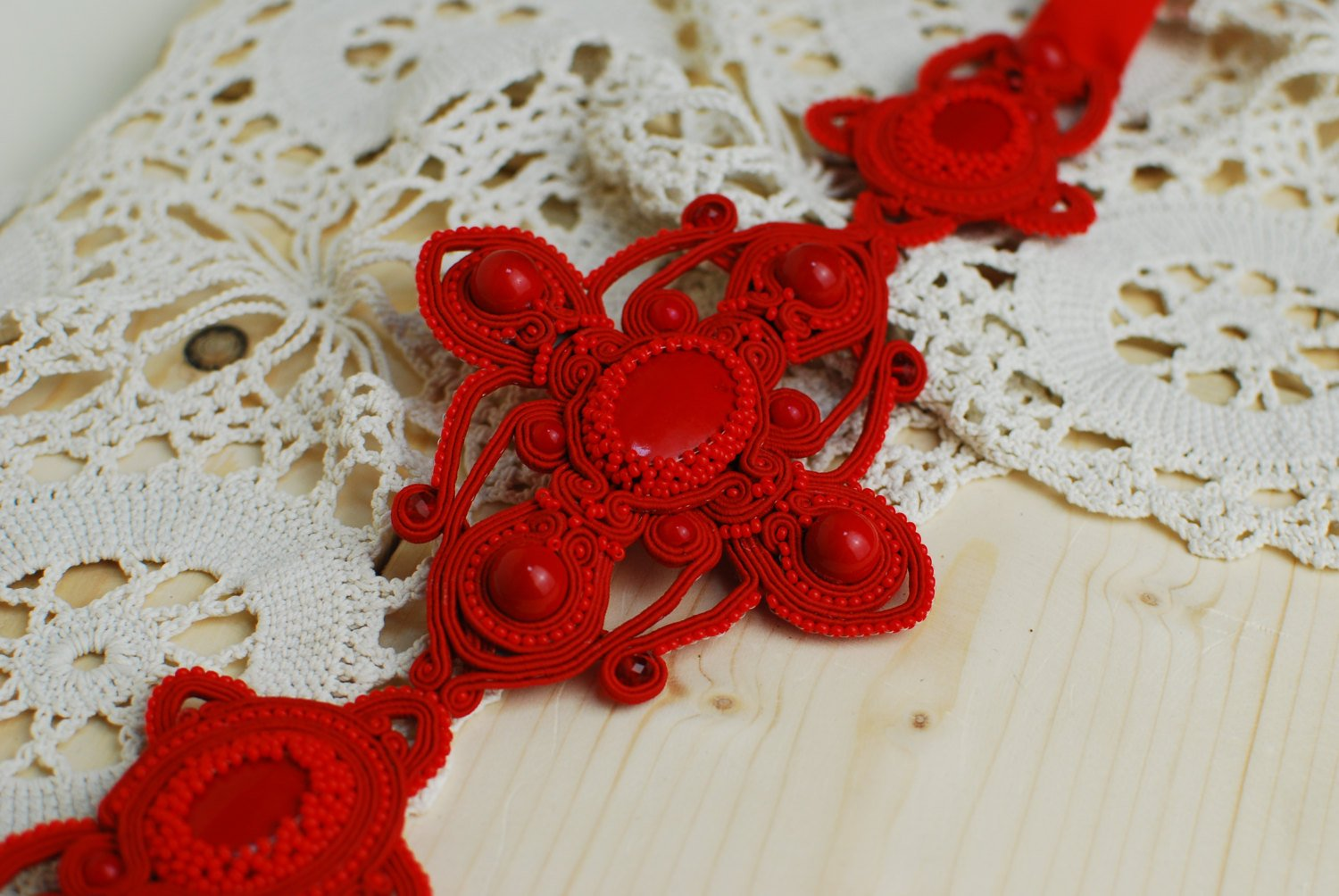Soutache belt, Red belt with coral beads, Embroidered belt, Beaded belt, Soutache jewelry
