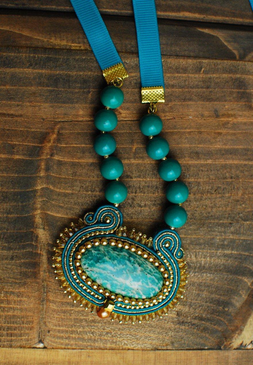 Soutache pendant, Celadon ang gold pendant with amazonite, Embroidered pendant, Beaded pendant