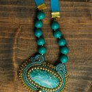 Soutache pendant, Celadon ang gold pendant with amazonite, Embroidered pendant, Beaded pendant